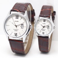 Jam Tangan Alba Couple Murah SK4940 Leather Brown Silver