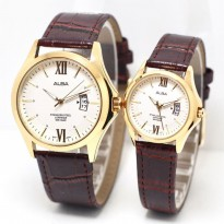 Jam Tangan Alba Couple Murah SK4940 Leather Brown Gold