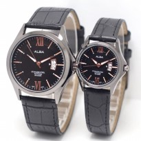 Jam Tangan Alba Couple Murah SK4940 Leather Full Black