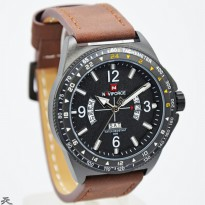 Jam Tangan Pria / Cowok Naviforce NF8490 Original Leather Brown White