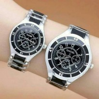 Jam Tangan Couple Pasangan Chanel Mika Rantai Black