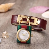 Jam Tangan Wanita Premium Gucci Gembok Leather Brown