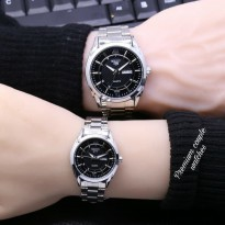 Jam Tangan Seiko Five Couple Rantai Silver Black