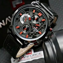 JAM PRIA NAVIFORCE NF9068 KULIT CHRONO ACTIVE ORI ANTI AIR BLACK RED