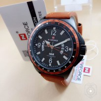 JAM TANGAN PRIA NAVIFORCE NF9103 TANGGAL HARI ORI ANTI AIR LIGHT BROWN