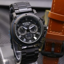 Jam Tangan Pria Bonia Chrono SK7255 Rantai Black Blue + Leather Brown