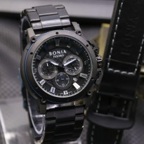 Jam Tangan Pria Bonia Chrono SK7255 Rantai Black Blue + Leather Black