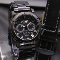 Jam Tangan Pria Bonia Chrono SK7255 Rantai Black Brown + Leather Black