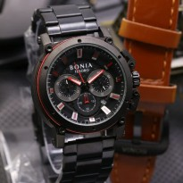 Jam Tangan Pria Bonia Chrono SK7255 Rantai Black Red + Leather Brown