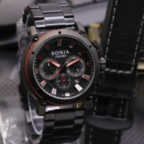 Jam Tangan Pria Bonia Chrono SK7255 Rantai Black Red + Leather Black