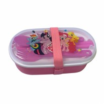Lunch Box Anak 2 Susun Karet - Little Pony Pink