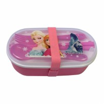 Lunch Box Anak 2 Susun Karet - Frozen Pink