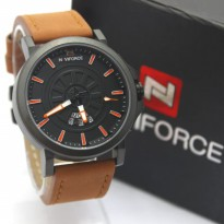 Jam Tangan Pria / Cowok Naviforce NF9125M Original Leather Light Brown