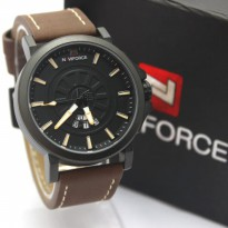 Jam Tangan Pria / Cowok Naviforce NF9125M Original Leather Dark Brown