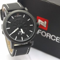 Jam Tangan Pria / Cowok Naviforce NF9125M Original Leather Black White