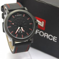 Jam Tangan Pria / Cowok Naviforce NF9125M Original Leather Black Red