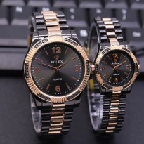 Jam Tangan Rolex Couple Murah SK930 Rantai Black Kombi Rose Black