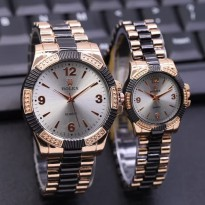 Jam Tangan Rolex Couple Murah SK930 Rantai Black Kombi Rose White