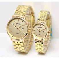 Jam Tangan Alba Couple Murah SK282 Rantai Full Gold