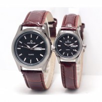 Jam Tangan Montblanc Couple Daydate Leather Brown Black