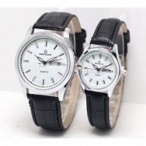 Jam Tangan Montblanc Couple Daydate Leather Black Silver White