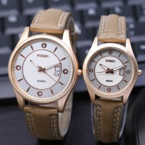 Jam Tangan Fossil Couple SK8900 Leather Cream
