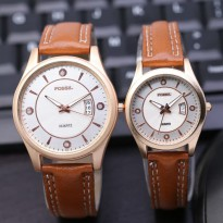 Jam Tangan Fossil Couple SK8900 Leather Brown