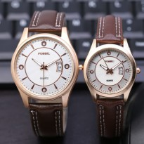 Jam Tangan Fossil Couple SK8900 Leather Dark Brown