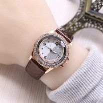 Jam Tangan Wanita / Cewek Guess WLA Leather Dark Brown