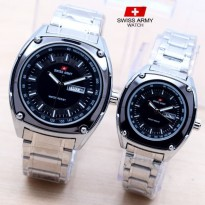 Jam Tangan Swiss Army Couple Murah SK885 Rantai Silver Black