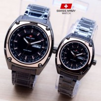Jam Tangan Swiss Army Couple Murah SK885 Rantai Black Rosegold