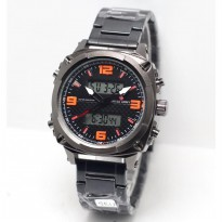 Jam Tangan Pria Swiss Army Dual Time SEU Rantai Black List Orange