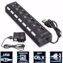 USB Hub 7 Ports Portable High Speed USB | On/Off Switch USB Splitter