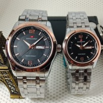 Jam Tangan Swiss Army Couple Murah SK725 Rantai Kombi Black