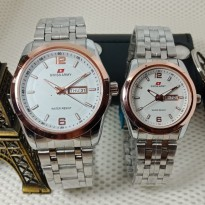 Jam Tangan Swiss Army Couple Murah SK725 Rantai Kombi White