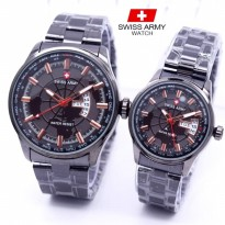 Jam Tangan Swiss Army SA Couple Daydate 04 Rantai Full Black