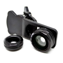 Lesung Universal Clip 3 in 1 Photo Lens (180 Degree Fisheye Lens + 0.67x Wide Lens + Macro Lens) for Smartphone - LX-U301 - Black