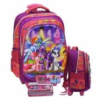 Tas Trolley Anak SD My Little Pony 5D Timbul Hologram 3 Kantung Import & KP
