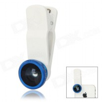 Universal 3 in 1 Clip Lens 180 Degree + 0.67x Wide Angle + Macro Lens for Smartphone and Tablet PC - White
