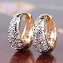 Anting 18k white and yellow gold filled sparkling multitone wedding dangling hoop earrings