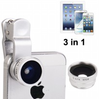 Universal 3 in 1 Clip Lens 180 Degree + 0.67x Wide Angle + Macro Lens for Smartphone and Tablet PC - Silver