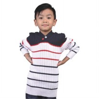 Catenzo Junior Sweater Anak - Putih Lines Merah Hitam CZMx157