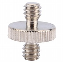 Hot Shoe 1/4 Male to 1/4 Male Thread Adapter - Silver