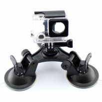3 Feets Triangle Stable Car Suction Cup Glass Mount Sucker for Xiaomi Yi 1 / Xiaomi Yi 2 4K / Gopro / SJcam - Black
