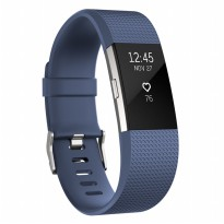 Fitbit Charge 2 Heart Rate + Fitness Wristband - Size L - Blue/Silver