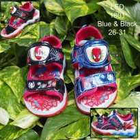 Sandal LED Anak Spiderman LED nyala Laki laki 26 27 28 29 30 31 - 26, Biru