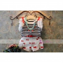 Setelan Anak Perempuan KoreaPink Stripey Red Ribbon with Belt
