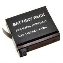 Rechargeable Li-Ion Battery for GoPro Hero 4 3.8V 1160mAh - AHDBT-401 (OEM) - Black