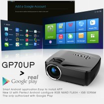 Mini Smart Projector GP70UP Android OS Full HD High Power LED Light 1200 Lumens (Black)