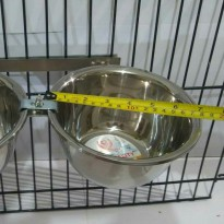 Tempat makan anjing kucing double holder crome with bowl 16cm